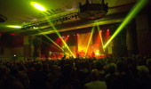 A general view of the stage and crowd as the heavy metal band Lamb of God performs at The Egyptian Room at Old National Centre on November 8 2012 in...