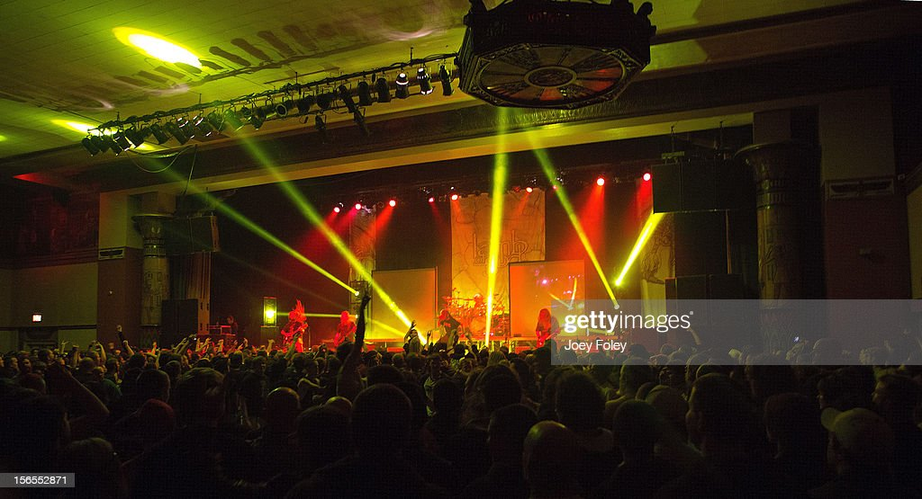 A general view of the stage and crowd as the heavy metal band Lamb of God performs at The Egyptian Room at Old National Centre on November 8, 2012 in Indianapolis, Indiana.