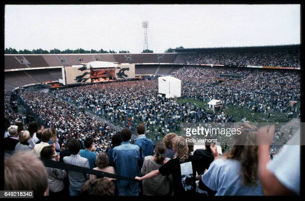 General view of the stage and the audience in the stadiume watching U2 perform during The Joshua Tree Tour Feyenoord Stadion De Kuip Rotterdam...