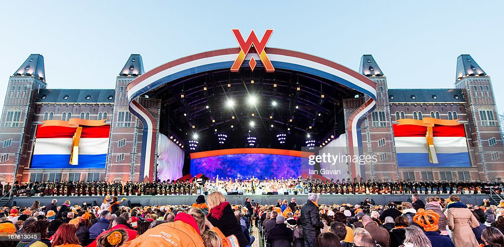 General view of the stage as Andre Rieu performs on stage at Museumplien during the inauguration of King Willem Alexander of the Netherlands as Queen Beatrix of the Netherlands abdicates on April 30, 2013 in Amsterdam, Netherlands.