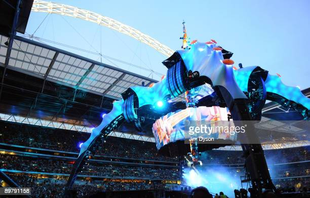 A general view of the stage as U2 perform during their 360 World Tour at Wembley Stadium on August 14 2009 in London England