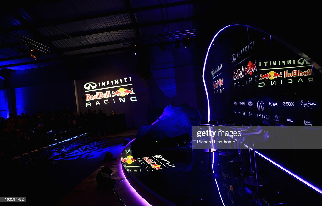 A general view of the stage before the car is unveiled during the Infiniti Red Bull Racing RB9 launch on February 3, 2013 in Milton Keynes, England.