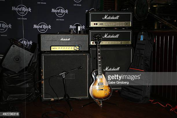 A general view of the stage during Hard Rock Cafe Las Vegas at Hard Rock Hotel's 25th anniversary celebration on October 10 2015 in Las Vegas Nevada