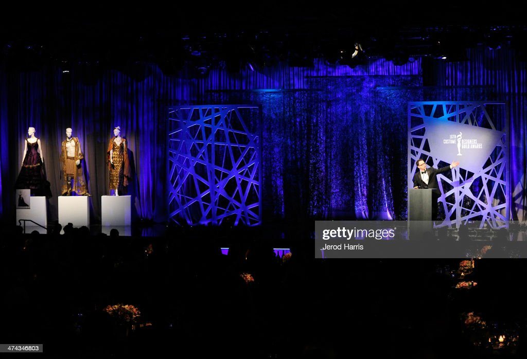 A general view of the stage during the 16th Costume Designers Guild Awards with presenting sponsor Lacoste at The Beverly Hilton Hotel on February 22, 2014 in Beverly Hills, California.