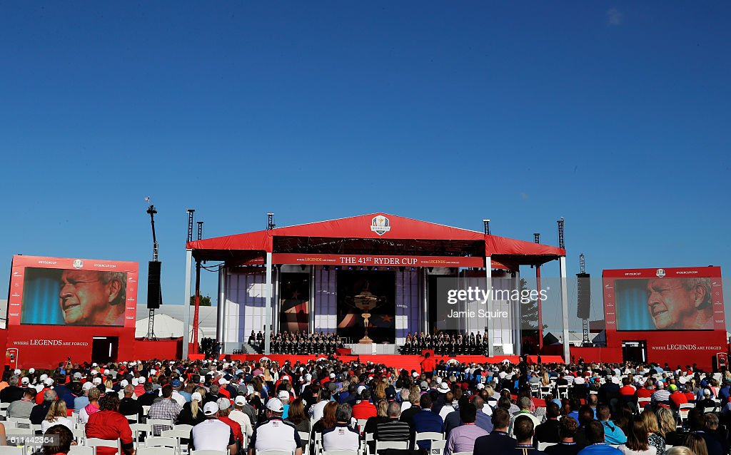 A general view of the stage during the 2016 Ryder Cup Opening Ceremony at Hazeltine National Golf Club on September 29, 2016 in Chaska, Minnesota.