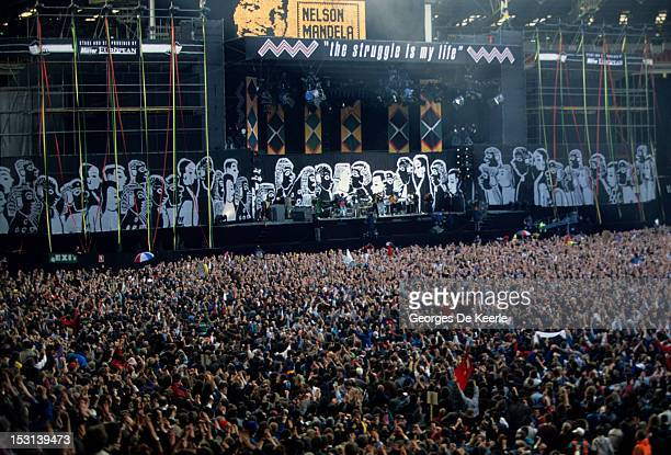 A general view of the stage during the concert held to celebrate the release of African National Congress leader Nelson Mandela from prison Wembley...