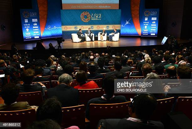 General view of the stage during the Debate on the Global Economy moderated by British CNN news presenter Richard Quest and the participation of...