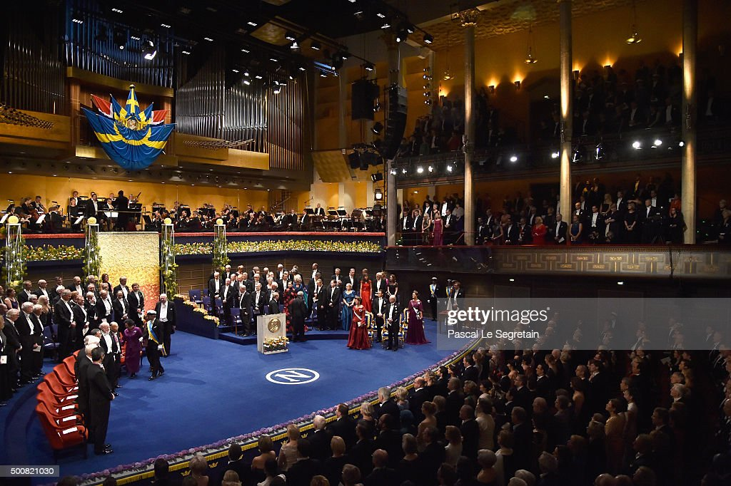General view of the stage during the Nobel Prize Awards Ceremony at Concert Hall on December 10 2015 in Stockholm Sweden