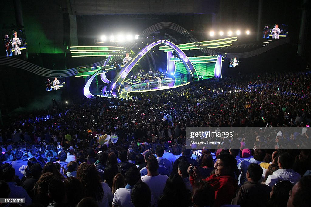 General view of the stage during the performance of the singer Romeo Santos at the Quinta Vergara during the 53rd Vina del Mar International Music Festival on February 25, 2013 in Vina del Mar, Chile.