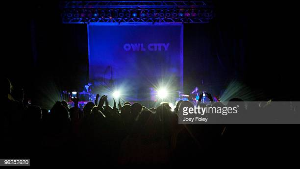 A general view of the stage for the back as Owl City performs in a sold out concert at the Lifestyle Communities Pavilion on January 28 2010 in...
