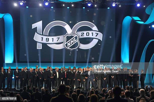 A general view of the stage is seen after the NHL 100 presented by GEICO show as part of the 2017 NHL AllStar Weekend at the Microsoft Theater on...