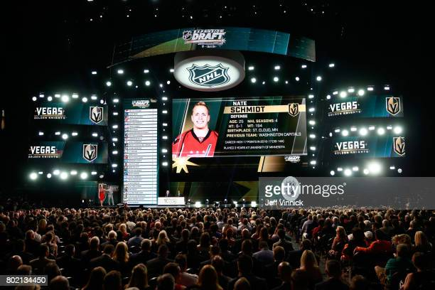 A general view of the stage is seen as the Vegas Golden Knights announce picking Nate Schmidt from the Washington Capitals during the 2017 NHL Awards...