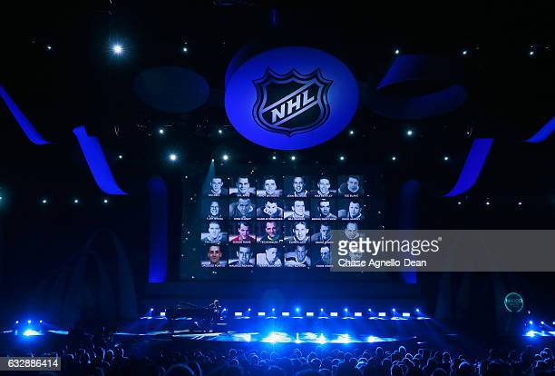 A general view of the stage is seen during the 'In Loving Memory' segment of the NHL 100 presented by GEICO show as part of the 2017 NHL AllStar...