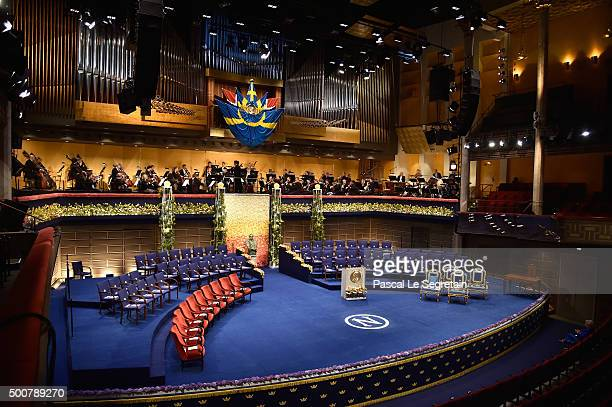 General view of the stage prior the Nobel Prize Awards Ceremony at Concert Hall on December 10 2015 in Stockholm Sweden