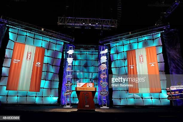 A general view of the stage prior to the 2014 WNBA Draft Presented By State Farm on April 14 2014 at Mohegan Sun Arena in Uncasville Connecticut NOTE...