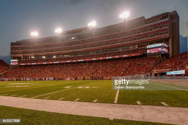 A general view of the stands between the Nebraska Cornhuskers and the Arkansas State Red Wolves at Memorial Stadium on September 2 2017 in Lincoln...