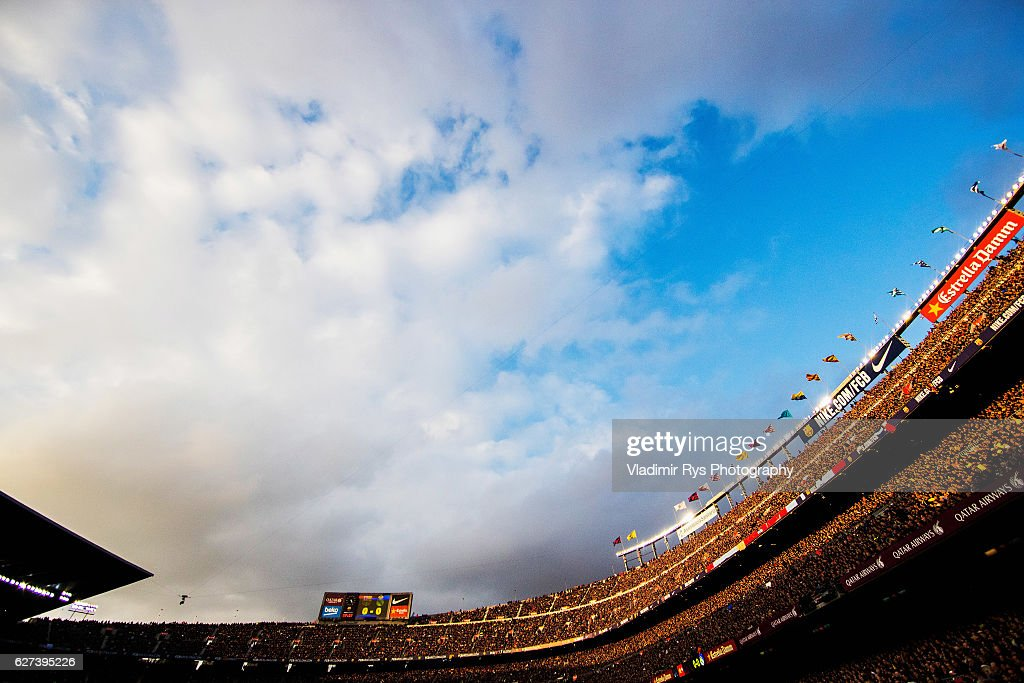 General view of the stands is seen during the La Liga match between FC Barcelona and Real Madrid CF at Camp Nou stadium on December 03 2016 in...