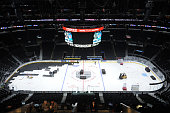 A general view of the STAPLES Center floor during a changeover from hockey to basketball at STAPLES Center on January 03 2015 in Los Angeles...