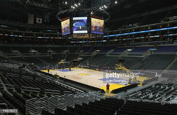 A general view of the Staples Center taken before the game between the Los Angeles Lakers and the Cleveland Cavaliers on January 12 2006 at Staples...