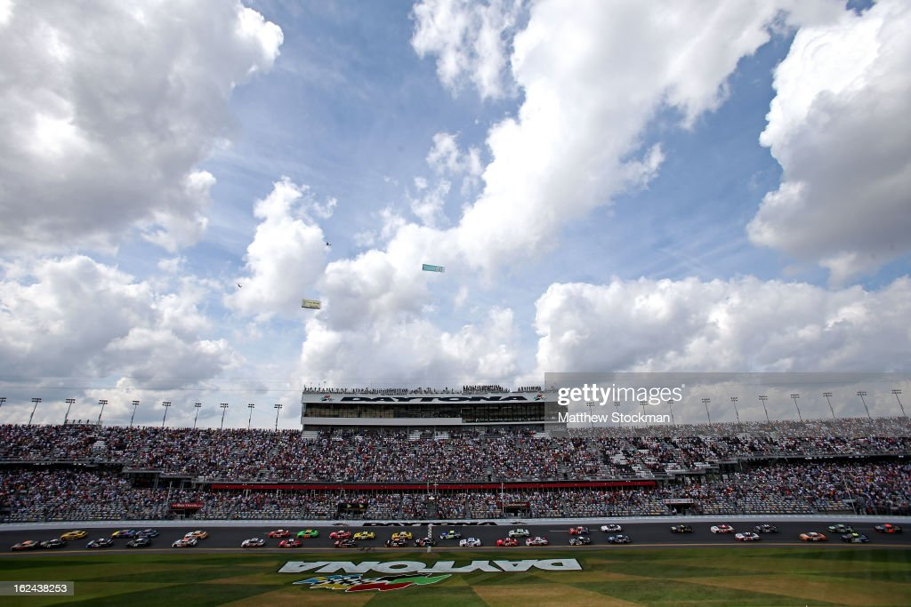 A general view of the start as <a gi-track='captionPersonalityLinkClicked' href=/galleries/search?phrase=Trevor+Bayne&family=editorial&specificpeople=5533943 ng-click='$event.stopPropagation()'>Trevor Bayne</a>, driver of the #6 Cargill Ford, is in the pole position during the NASCAR Nationwide Series DRIVE4COPD 300 at Daytona International Speedway on February 23, 2013 in Daytona Beach, Florida.