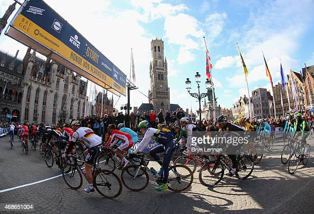 A general view of the start during the 2015 Tour of Flanders from Bruges to Oudenaarde on April 5 2015 in Bruges Belgium