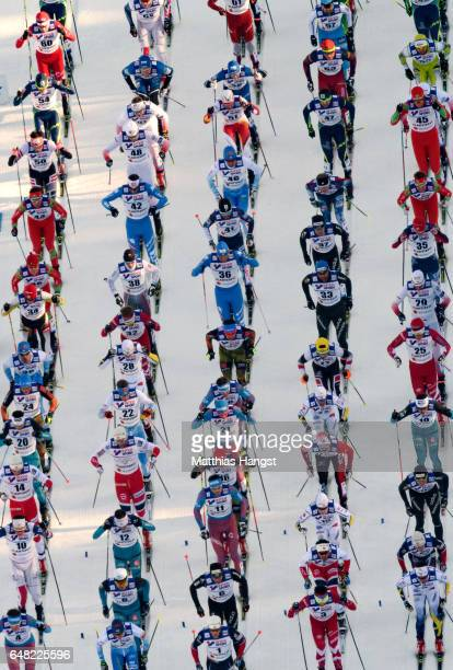 A general view of the start during the Men's Cross Country Mass Start during the FIS Nordic World Ski Championships on March 5 2017 in Lahti Finland