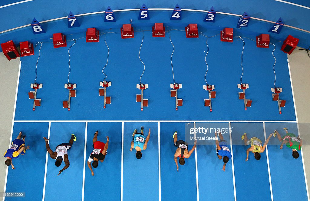 A general view of the start in the Men's 60m heats during day one of the European Athletics Indoor Championships at Scandinavium on March 1, 2013 in Gothenburg, Sweden.