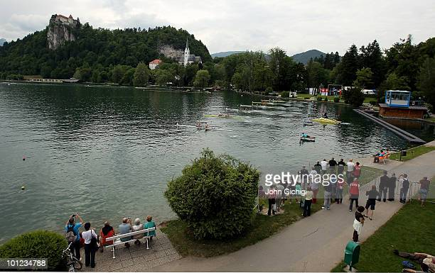 General view of the start line at Lake Bled where the Rowing World Cup is taking place on May 28 2010 in Bled Slovenia