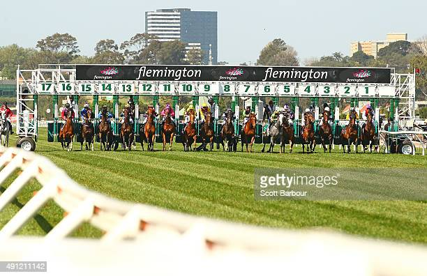 A general view of the start of race 6 the The Bart Cummings during Turnbull Stakes Day at Flemington Racecourse on October 4 2015 in Melbourne...