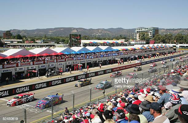 A general view of the start of race one of the Clipsal 500 which is round one of the 2005 V8 Supercar Championship Series on the streets of Adelaide...