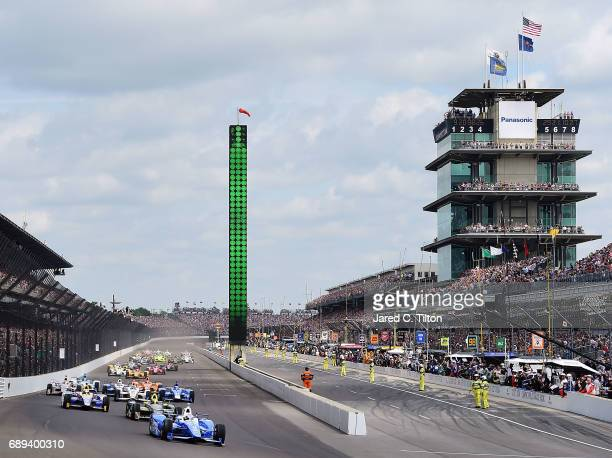 A general view of the start of the 101st running of the Indianapolis 500 at Indianapolis Motorspeedway on May 28 2017 in Indianapolis Indiana