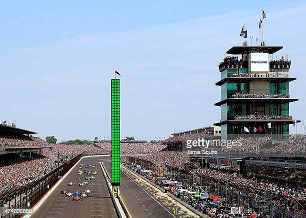 A general view of the start of the 99th running of the Indianapolis 500 at Indianapolis Motorspeedway on May 23 2015 in Indianapolis Indiana