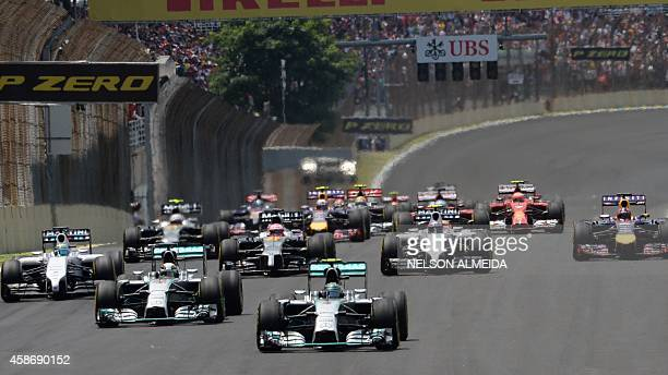 General view of the start of the Brazilian Formula One Grand Prix at the Interlagos racetrack in Sao Paulo Brazil on November 9 2014 AFP PHOTO /...