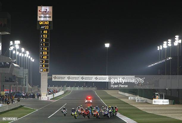 A general view of the start of the Motorcycle Grand Prix of Qatar round one of the MotoGP World Championship at the Losail Circuit on March 9 2008 in...