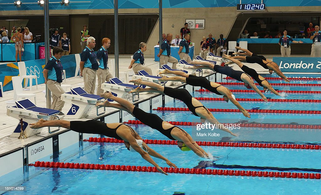 A general view of the start of the Women's 800m Freestyle heat is seen on Day 6 of the London 2012 Olympic Games at the Aquatics Centre on August 2, 2012 in London, England.