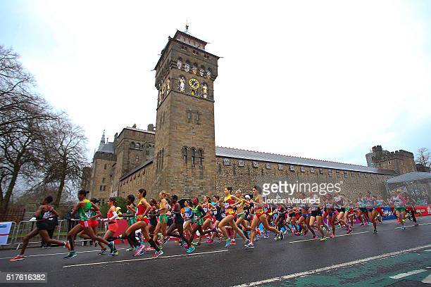 A general view of the start of the Women's Half Marathon during the IAAF/Cardiff University World Half Marathon Championships on March 26 2016 in...