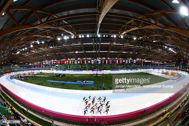 A general view of the start of the Women's Mass Start race on day 2 of the ISU Speed Skating World Cup at the Hamar Olympic Hall on February 1 2015...