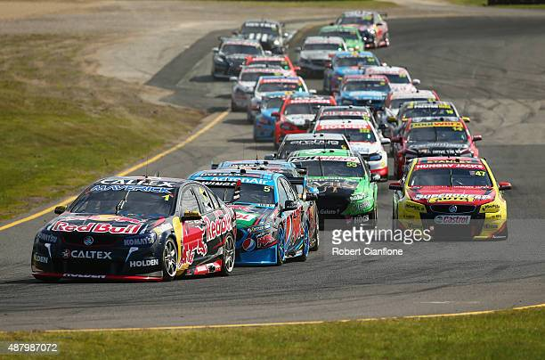 A general view of the start the Sandown 500 which is race 24 of the V8 Supercars Championship at Sandown International Motor Raceway on September 13...
