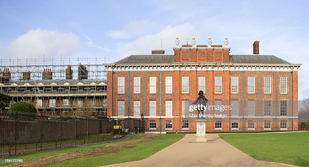 A general view of the State Apartments of Kensington Palace and Apartment 1A (L) which is covered in scaffolding whilst refurbishment works are being carried out on January 08, 2013 in London, England. Prince William, Duke of Cambridge and Catherine, Duchess of Cambridge are scheduled to take up residence in apartment 1A of the Palace in 2013.