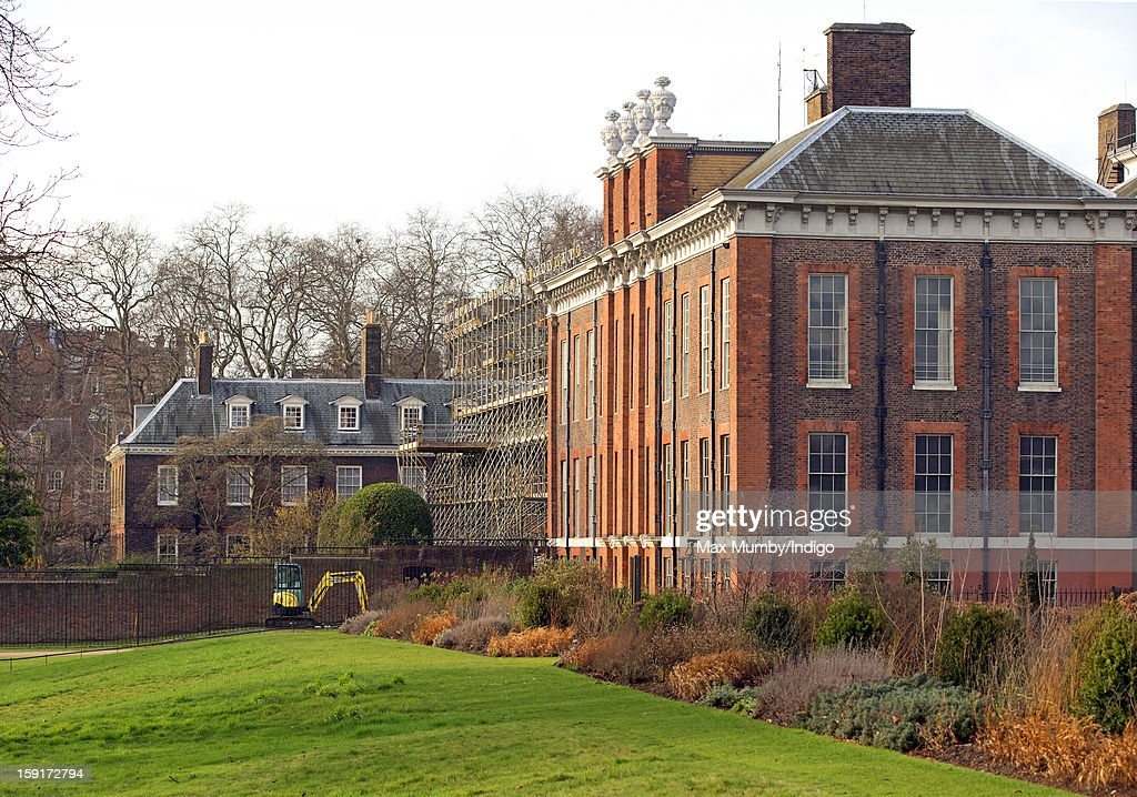 A general view of the State Apartments of Kensington Palace and Apartment 1A which is covered in scaffolding whilst refurbishment works are being carried out on January 08, 2013 in London, England. Prince William, Duke of Cambridge and Catherine, Duchess of Cambridge are scheduled to take up residence in apartment 1A of the Palace in 2013.