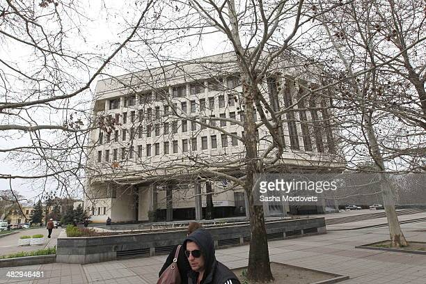 A general view of the State Council in Simferopol on April 5 2014 in Simferopol in the disputed Crimean Peninsula Many Ukrainian banks are already...