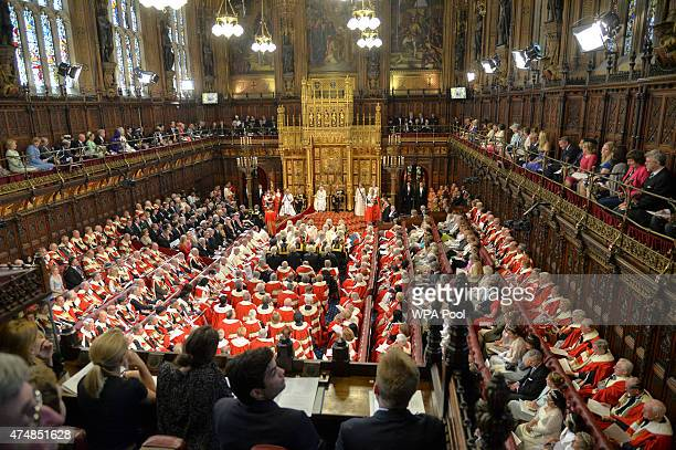 A general view of the State Opening of Parliament in the House of Lords at the Palace of Westminster on May 27 2015 in London England