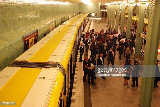 A general view of the station is seen during the Stefan Kretzschmar Underground Catwalk fashion show held in a subway train at the Alexanderplatz U5...