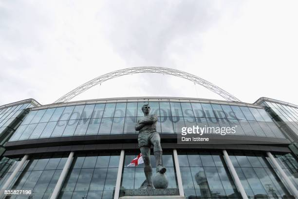 A general view of the Statue of Bobby Moore outside the stadium prior to the Premier League match between Tottenham Hotspur and Chelsea at Wembley...