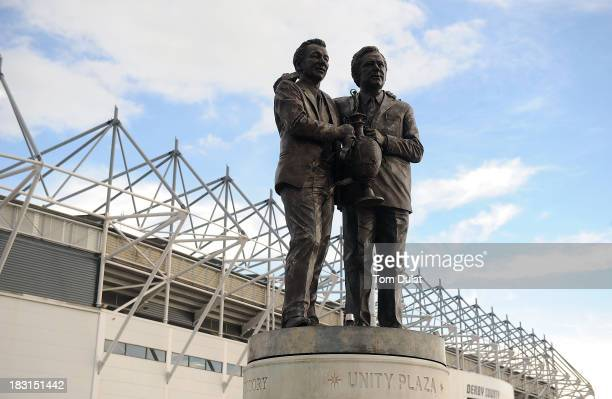 General view of the statue of Brian Clough and Peter Thomas Taylor prior the Sky Bet Championship match between Derby County and Leeds United at...