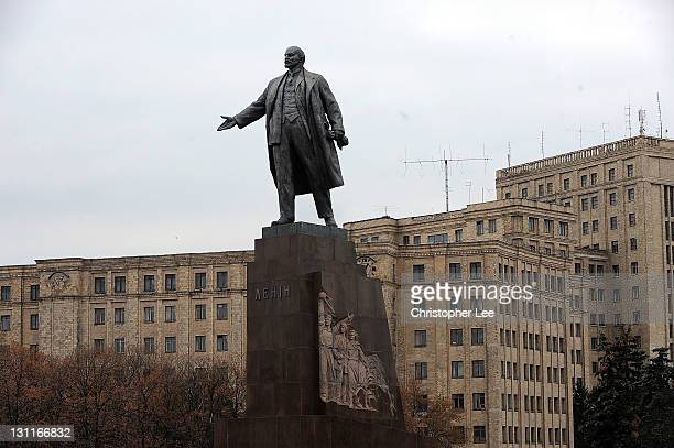 General view of the statue of Lenin overlooking Freedom Square in Kharkov on November 2 in Kharkov Ukraine Kharkov is Ukraine second largest city and...