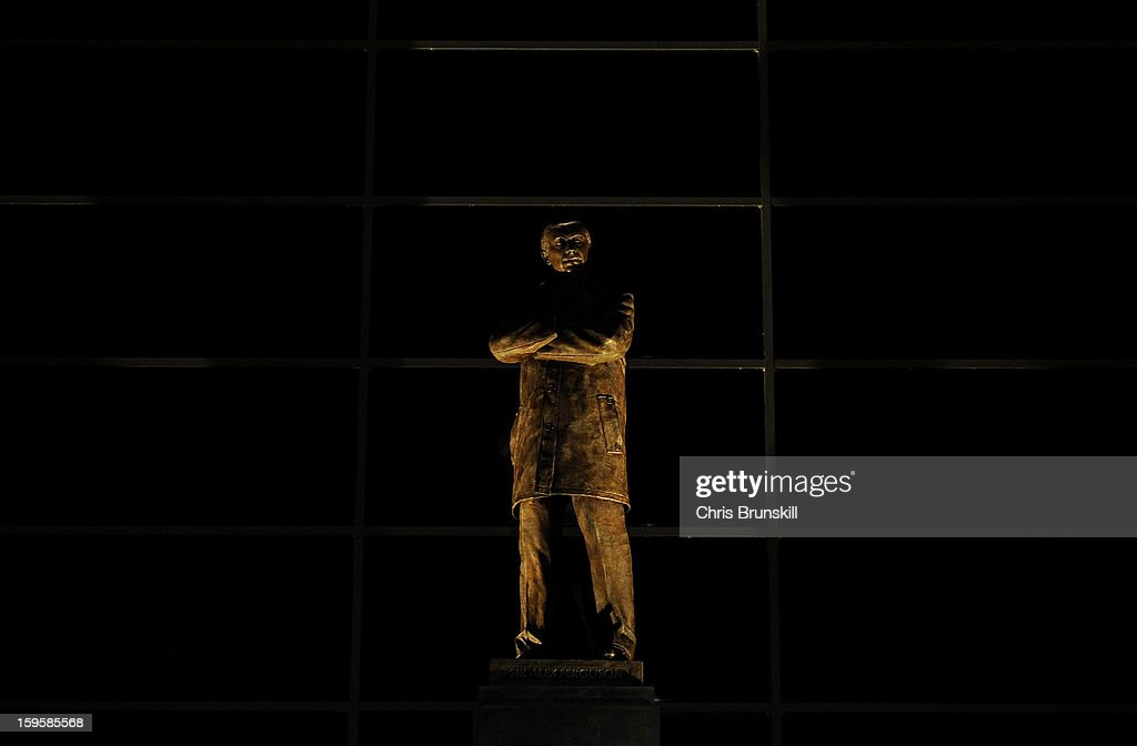 A general view of the statue of Manchester United manager Sir Alex Ferguson ahead of the FA Cup with Budweiser Third Round Replay match between Manchester United and West Ham United at Old Trafford on January 16, 2013 in Manchester, England.