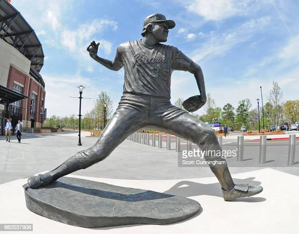 A general view of the statue of Phil Niekro at SunTrust Park before the exhibition game between the Atlanta Braves and the New York Yankees on March...