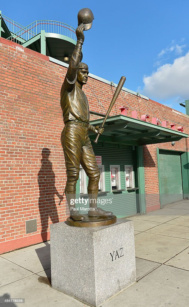 A general view of the statue of Red Sox Hall of Famer Carl 'Yaz' Yastrzemski by sculptor Antonio Tobias Toby Mendez outside Fenway Park on December 7, 2013 in Boston.