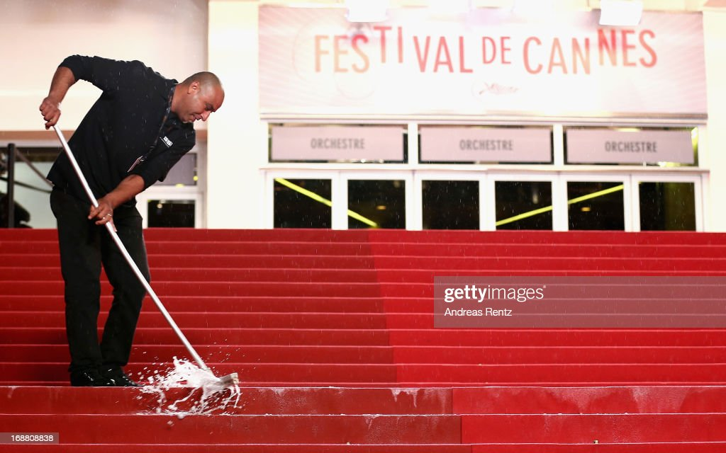 A general view of the steps being cleaned of water on the Opening Day of the 66th Annual Cannes Film Festival on May 15, 2013 in Cannes, France.